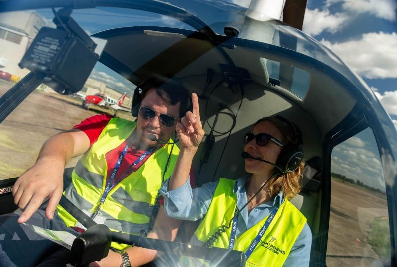 Student training to become a helicopter pilot